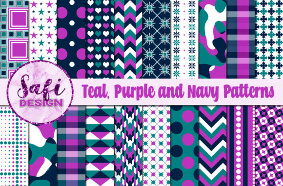 Download Free Teal And Purple Digital Paper Patterns Graphic By Safi Designs for Cricut Explore, Silhouette and other cutting machines.
