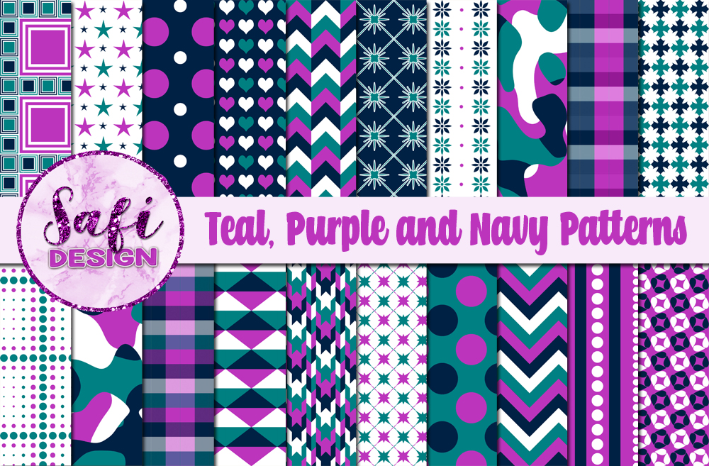 Teal And Purple Digital Paper Patterns Graphic By Safi Designs