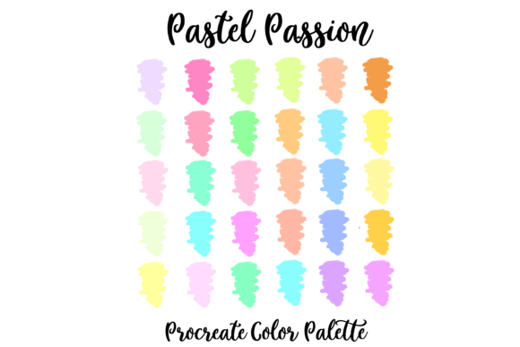 Unique Pastel Procreate Color Palette Gráfico Acciones y Pre-ajustes Por AM Digital Designs