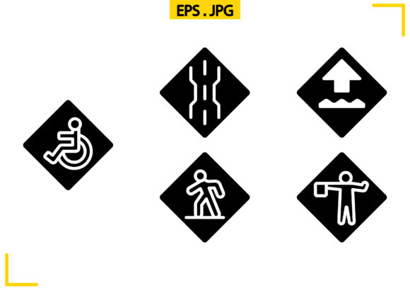 Us Road Signs Solid Graphic Icons By raraden655