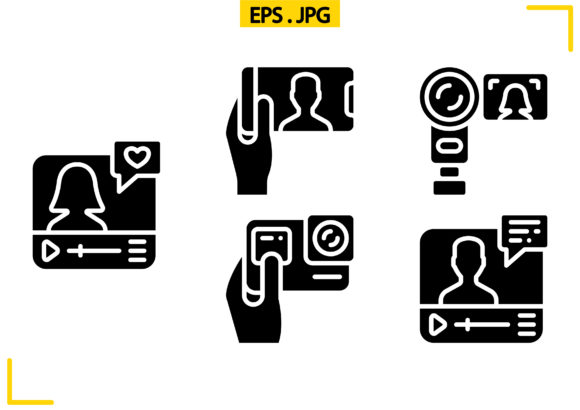 Video Blogging Solid Graphic Icons By raraden655