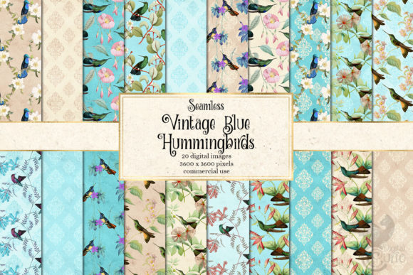Print on Demand: Vintage Blue Hummingbirds Digital Paper Gráfico Fondos Por Digital Curio
