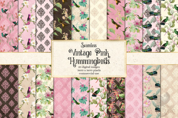 Print on Demand: Vintage Pink Hummingbirds Digital Paper Graphic Backgrounds By Digital Curio