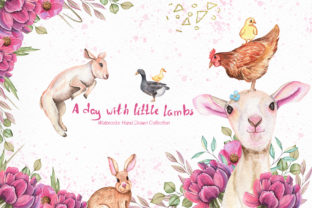 Print on Demand: Watercolor Day with Little Lambs Graphic Illustrations By tanatadesign