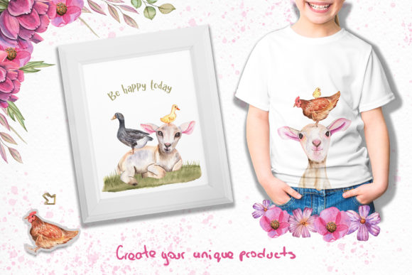 Print on Demand: Watercolor Day with Little Lambs Graphic Illustrations By tanatadesign - Image 10