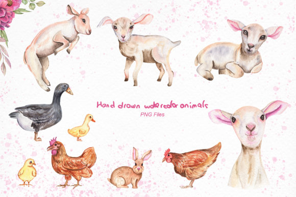 Print on Demand: Watercolor Day with Little Lambs Graphic Illustrations By tanatadesign - Image 3
