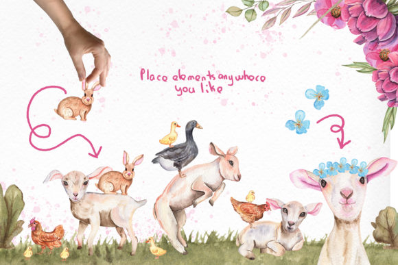 Print on Demand: Watercolor Day with Little Lambs Graphic Illustrations By tanatadesign - Image 7