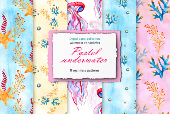 Download Free Watercolor Sea Life Digital Paper Pack Graphic By Natalimyastore for Cricut Explore, Silhouette and other cutting machines.