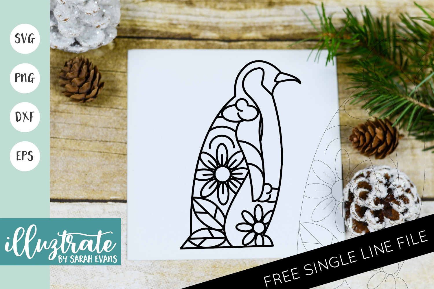 Download Free Winter Penguin Santa Mandala Cut Fil Graphic By Illuztrate for Cricut Explore, Silhouette and other cutting machines.