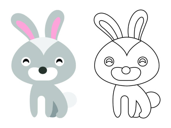Download Free Cute Gray Rabbit Kids Coloring Vector Graphic By 1tokosepatu for Cricut Explore, Silhouette and other cutting machines.