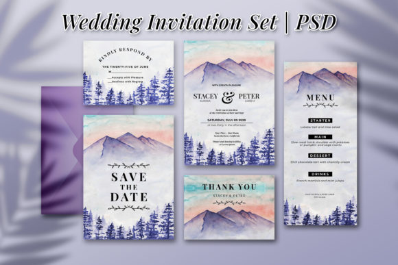 Print on Demand: Winter Mountain Wedding Invitation Set Graphic Print Templates By OrchidArt