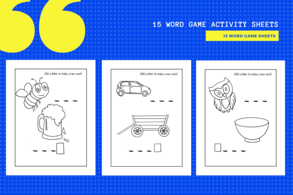 Print on Demand: 15 Fun Letter & Word Game Worksheets Graphic Teaching Materials By yumbeehomeschool - Image 1
