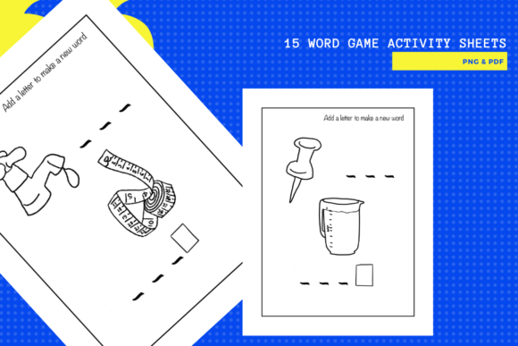 15 Fun Letter & Word Game Worksheets Graphic Item