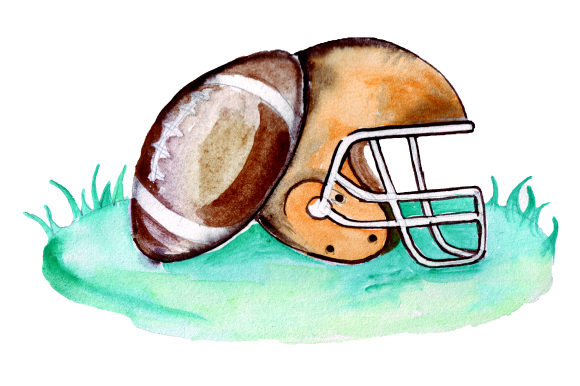 Football Helmet and Ball in Grass Sports Craft Cut File By Creative Fabrica Crafts