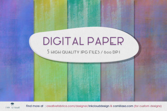 Print on Demand: 5 Cute Digital Paper Background Patterns Graphic Backgrounds By Inkclouddesign