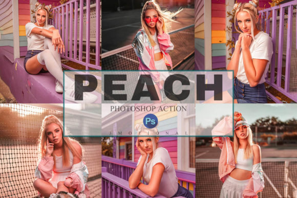 Print on Demand: 6 Peach Photoshop Actions, ACR, LUT Graphic Actions & Presets By 3Motional