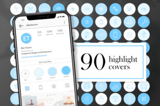 90 Instagram Story Highlight Covers Blue Graphic Web Elements By CreativePanda