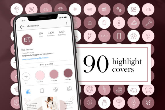 Download Free 90 Instagram Story Highlight Covers Gold Graphic By for Cricut Explore, Silhouette and other cutting machines.