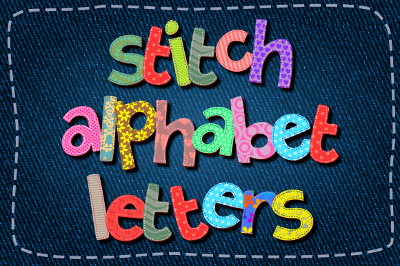 Print on Demand: Alphabet Stitch Fabric Lowercase Scrappy Graphic Crafts By Prawny