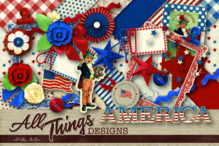 Print on Demand: America Digital Scrapbook Kit Gráfico Crafts Por All Things Designs