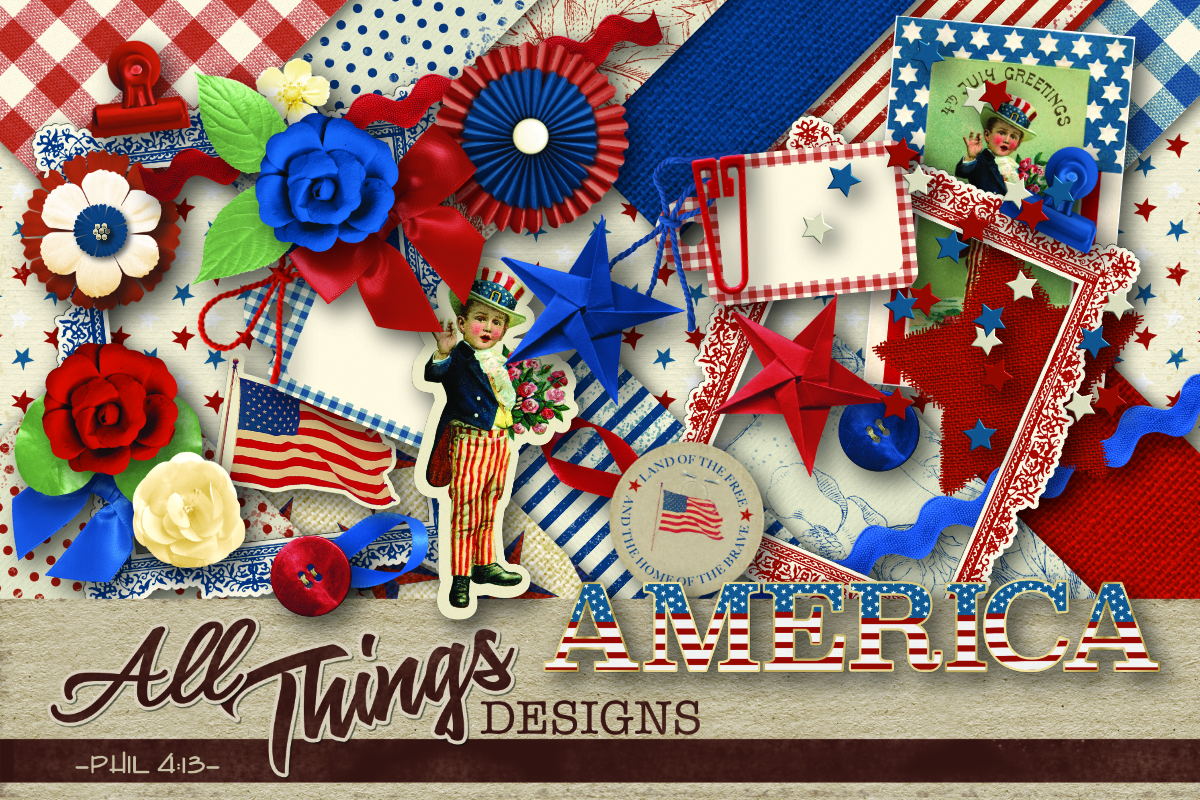 Download Free America Digital Scrapbook Kit Graphic By All Things Designs for Cricut Explore, Silhouette and other cutting machines.
