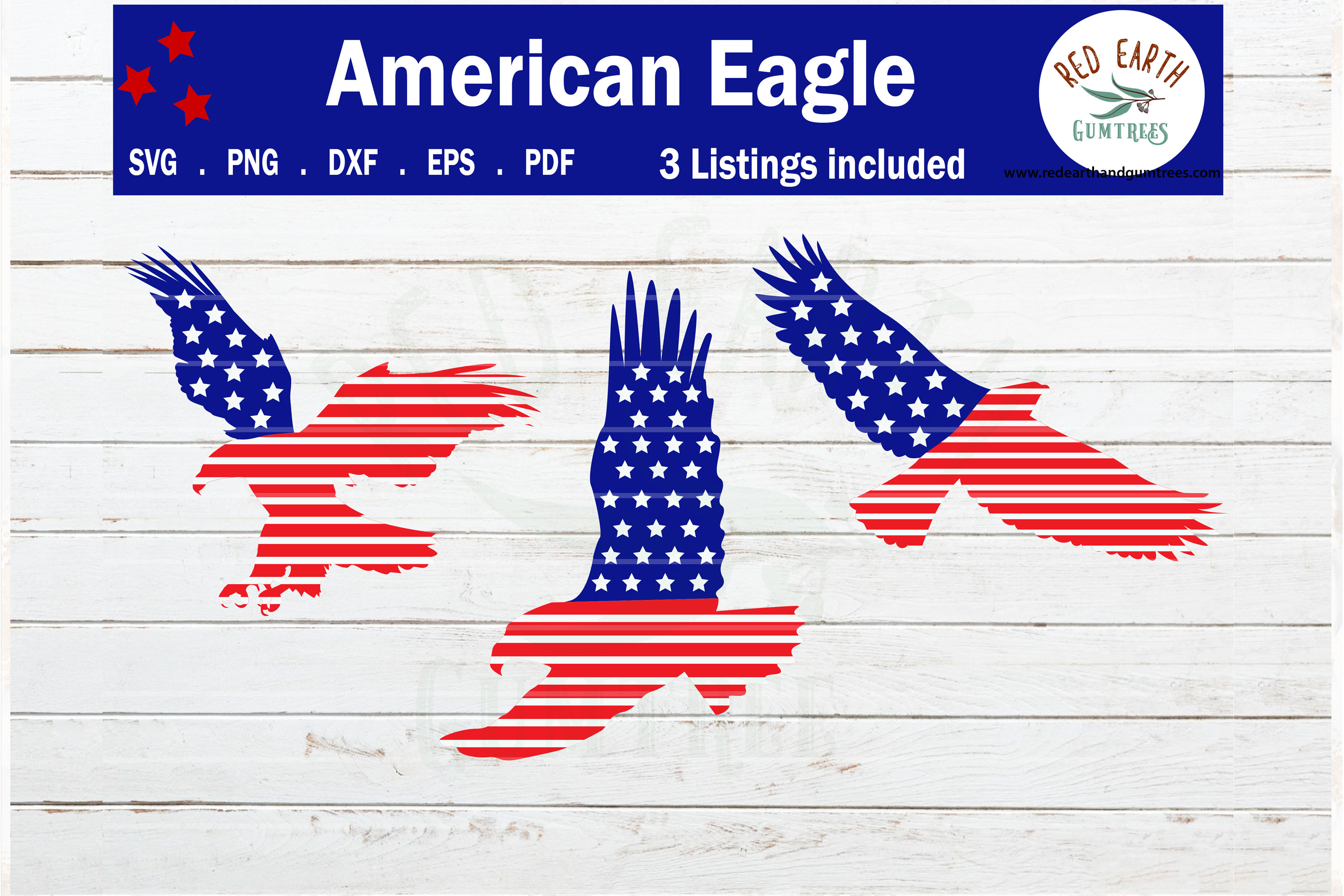 Download Free American Flag Eagles Bundle Graphic By Redearth And Gumtrees for Cricut Explore, Silhouette and other cutting machines.