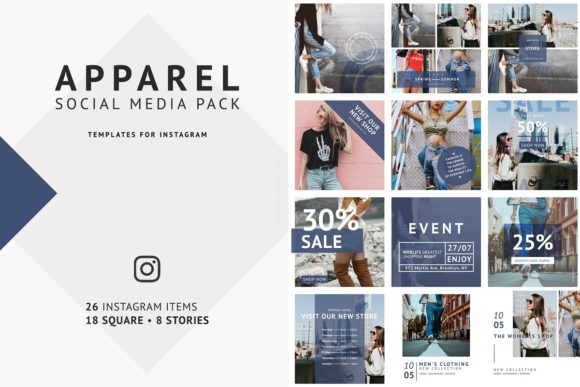 Download Free Apparel Social Media Pack Graphic By Dmitry Mashkin Creative for Cricut Explore, Silhouette and other cutting machines.