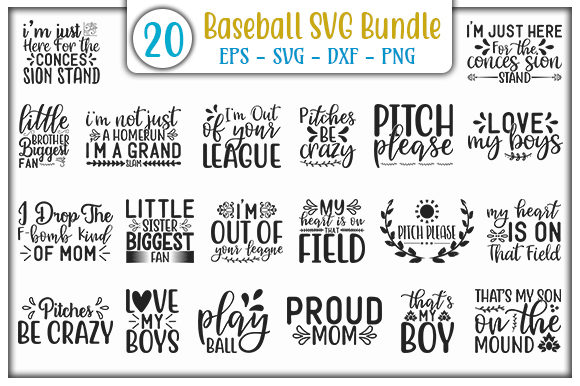 Download Free Baseball Design Bundle Graphic By Graphicsbooth Creative Fabrica for Cricut Explore, Silhouette and other cutting machines.