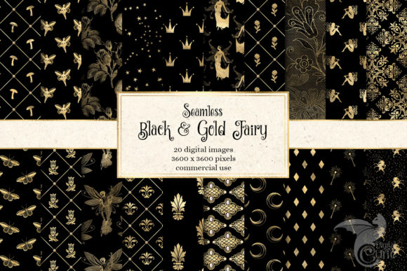 Print on Demand: Black and Gold Fairy Digital Paper Graphic Backgrounds By Digital Curio