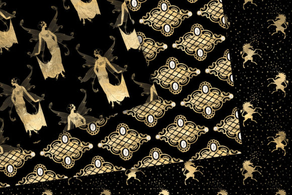 Download Free Black And Gold Fairy Digital Paper Graphic By Digital Curio Creative Fabrica for Cricut Explore, Silhouette and other cutting machines.