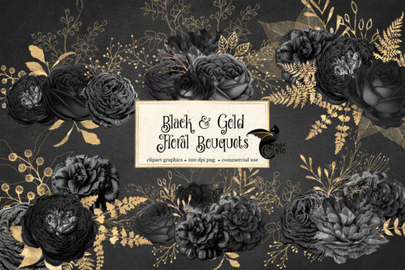 Print on Demand: Black and Gold Floral Bouquets Clipart Graphic Illustrations By Digital Curio - Image 1