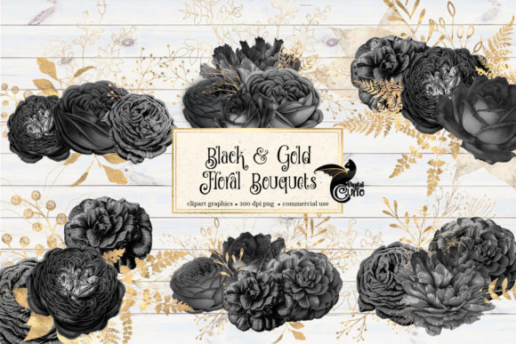 Print on Demand: Black and Gold Floral Bouquets Clipart Graphic Illustrations By Digital Curio - Image 2