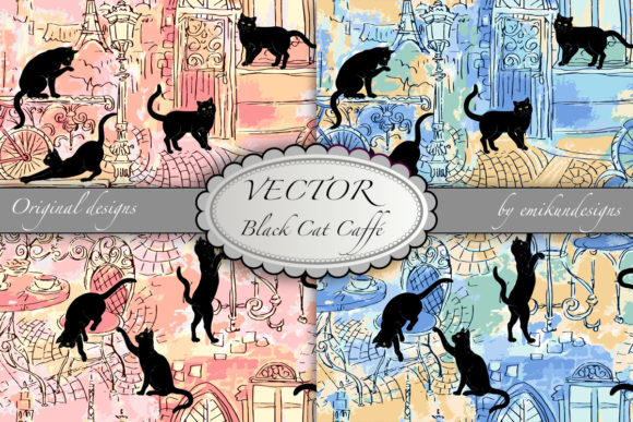 Black Cat Caffe Vector Pattern Graphic Patterns By emikundesigns
