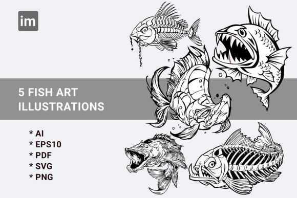 Download Free Bundels Fish Art Illustrations Graphic By Imorfect Creative for Cricut Explore, Silhouette and other cutting machines.