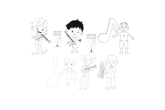 Download Free Characters Playing Instruments Outline Graphic By for Cricut Explore, Silhouette and other cutting machines.