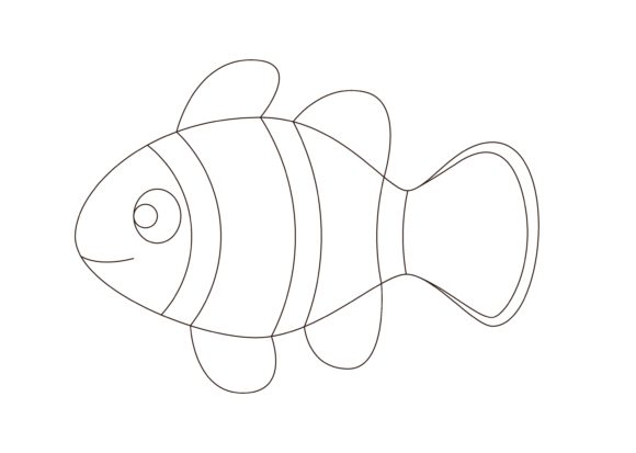 Download Free Children Coloring Clownfish Graphic By Studioisamu Creative for Cricut Explore, Silhouette and other cutting machines.