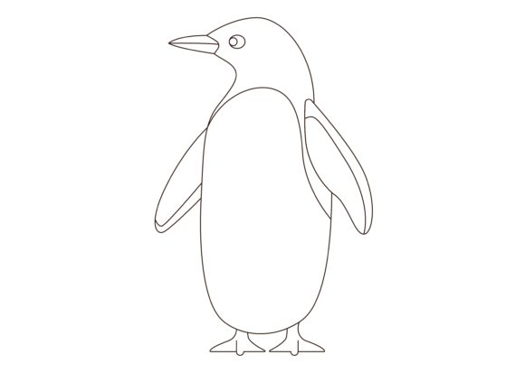 Download Free Children Coloring Penguin Graphic By Studioisamu Creative Fabrica for Cricut Explore, Silhouette and other cutting machines.
