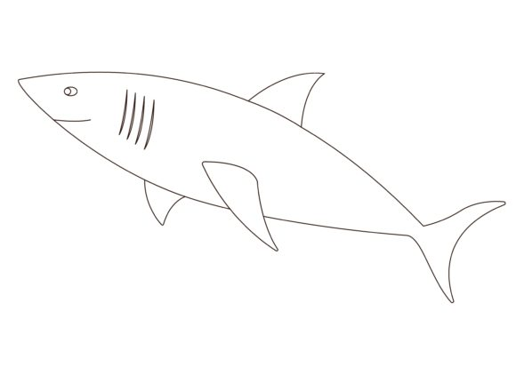 Download Free Children Coloring Shark Graphic By Studioisamu Creative Fabrica for Cricut Explore, Silhouette and other cutting machines.