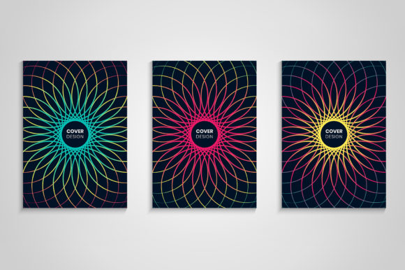 Colorful Cover Set with Abstract Flower Graphic Backgrounds By medelwardi