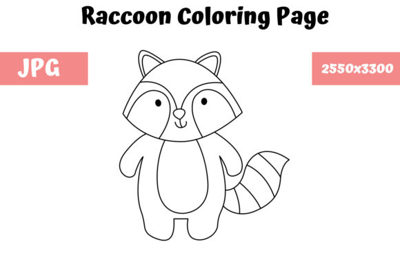 Print on Demand: Coloring Page for Kids - Raccoon Graphic Coloring Pages & Books Kids By MyBeautifulFiles