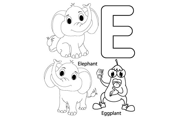 Print on Demand: Coloring the Letter E for Kids Graphic Illustrations By curutdesign
