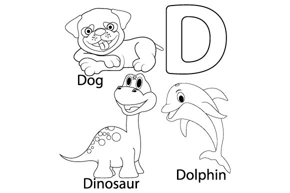 Print on Demand: Coloring the Letters D for Kids Graphic Illustrations By curutdesign