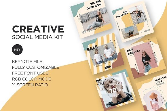 Download Free Creative Social Media Kit Keynote Graphic By Wijayacreative for Cricut Explore, Silhouette and other cutting machines.