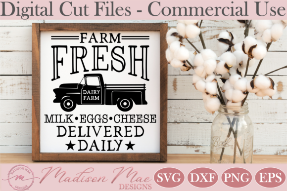 Download Free Dairy Farm Fresh Milk Egg Sign Graphic By Madison Mae Designs for Cricut Explore, Silhouette and other cutting machines.