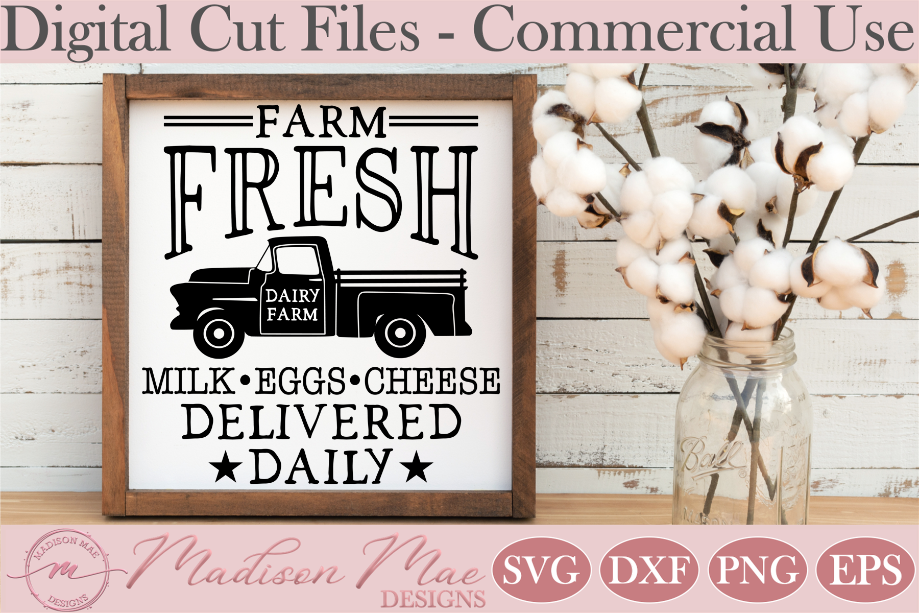 Download Free Dairy Farm Fresh Milk Egg Sign Graphic By Madison Mae Designs Creative Fabrica for Cricut Explore, Silhouette and other cutting machines.