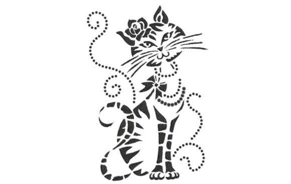 Elegant Cat 2 Cats Embroidery Design By BabyNucci Embroidery Designs - Image 1