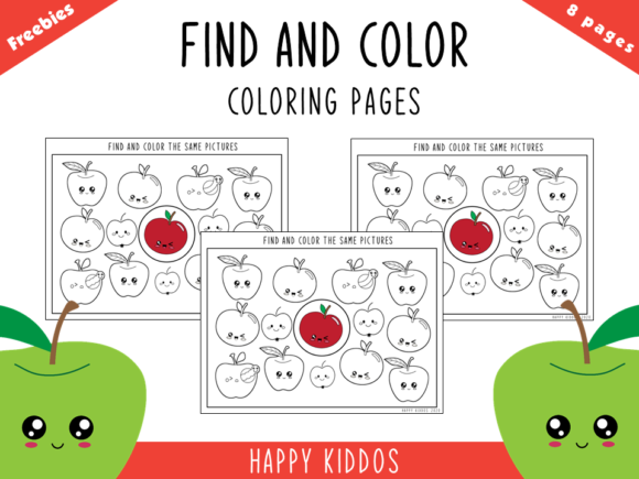 Find & Color - Coloring Pages Worksheets Graphic PreK By Happy Kiddos
