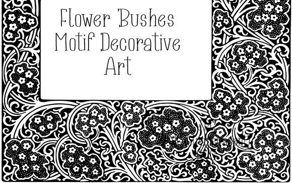Download Free Flower Bushes Motif Decorative Art Graphic By Kathryn Maloney for Cricut Explore, Silhouette and other cutting machines.