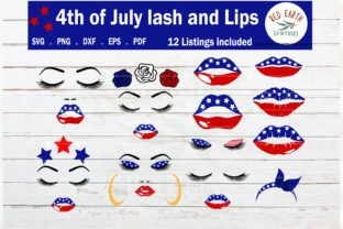 Download Free Fourth Of July Lash And Lips Bundle Graphic By Redearth And for Cricut Explore, Silhouette and other cutting machines.