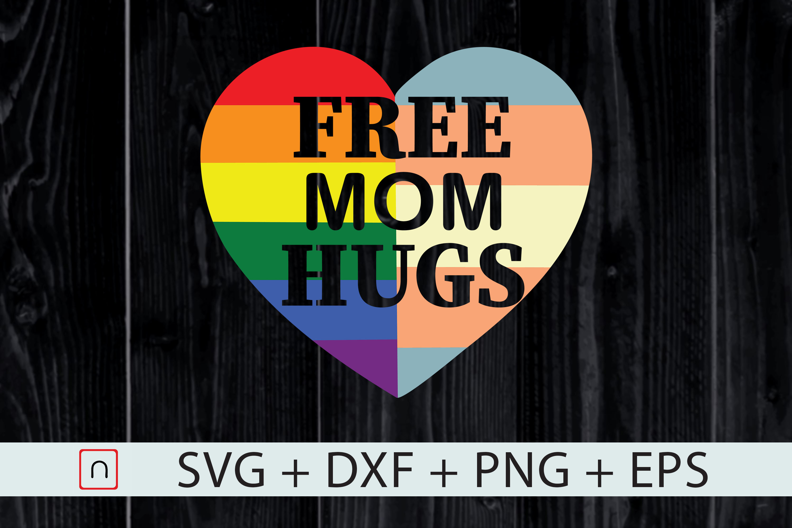 Download Free Free Mom Hugs Pride Lgbt Heart Graphic By Novalia Creative for Cricut Explore, Silhouette and other cutting machines.